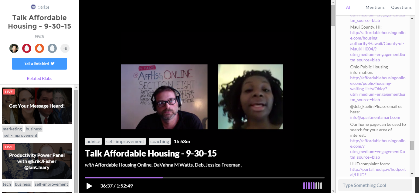 Affordable Housing Talk with Dave Layfield – 9/30/2015