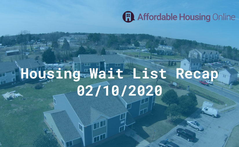 Housing Wait List Recap, February 10, 2020