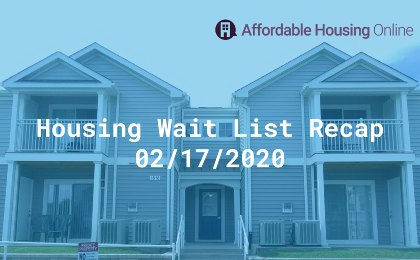Housing Wait List Recap: February 17, 2020