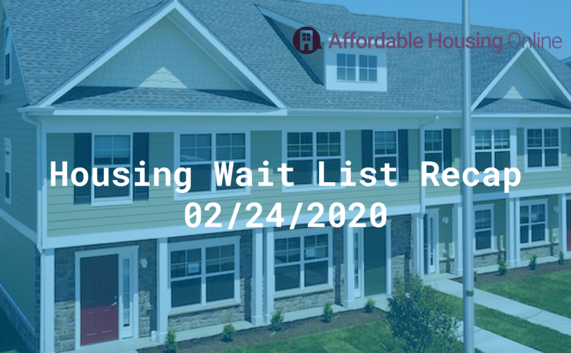Housing Wait List Recap: February 24, 2020