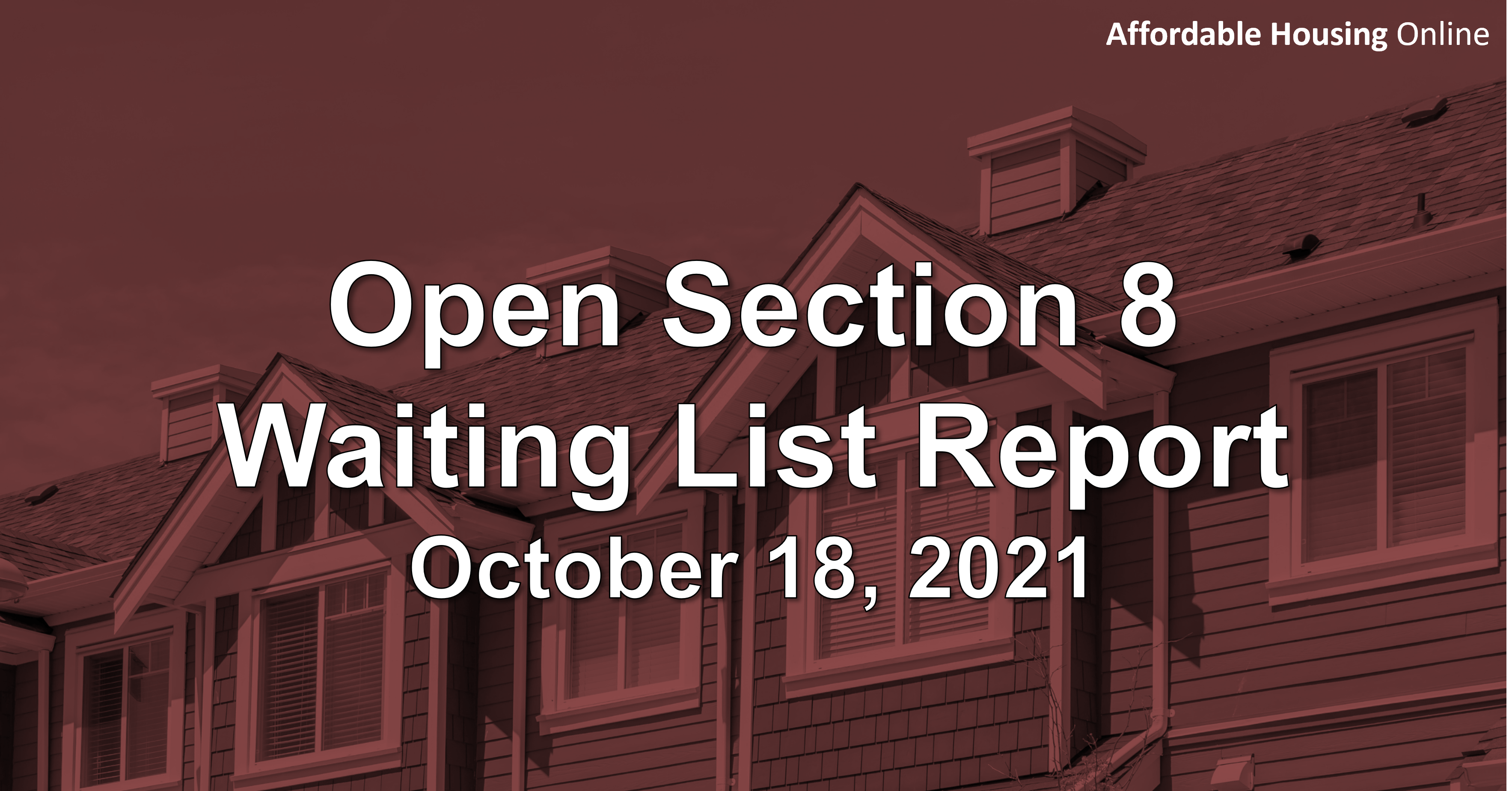 Open Section 8 Waiting List Report: October 18, 2021